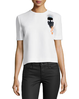 Karlito Short-Sleeve Fur Applique Top, White