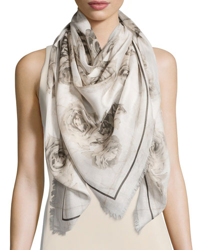 Creased Roses Printed Scarf, Ivory