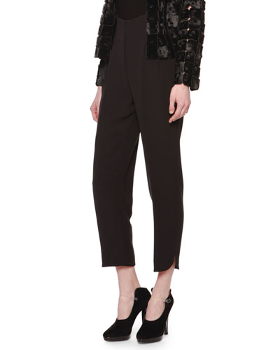 High-Waisted Pleated Slit-Cuff Pants