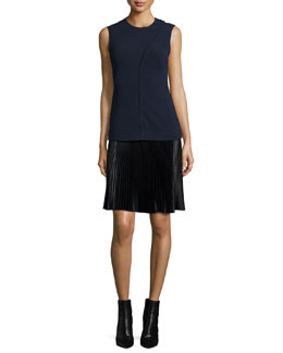 Sleeveless Asymmetric Seam Top, Navy