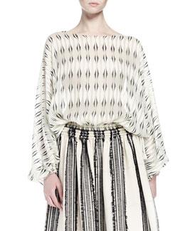 Long-Sleeve Printed Silk Blouse, Ecru/Black