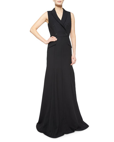 Sleeveless Fit-&-Flare Jacket Gown, Black