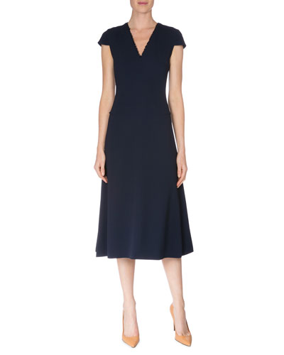 Fringe-Trim V-Neck Crepe Dress, Navy