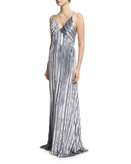 Striped Silk & Velvet V-Neck Gown, Moonlight Gray