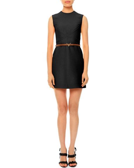 Sleeveless Jewel-Neck Belted Dress, Black
