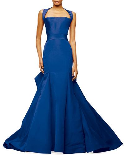 Halter-Neck Trumpet Gown, Brilliant Blue