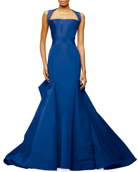 Halter-Neck Trumpet Gown, Brilliant Blue