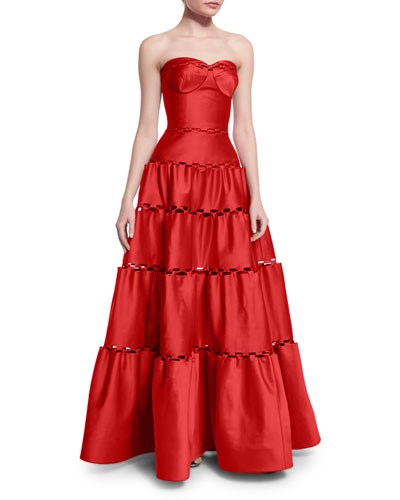 Strapless Tiered Satin Gown, Hibiscus