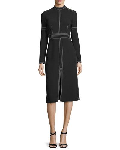 Long-Sleeve Topstitched Mock-Neck Dress, Black
