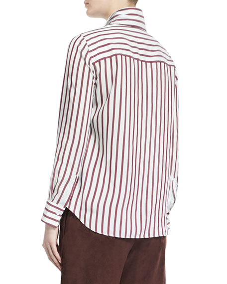 Long-Sleeve Striped Silk Blouse