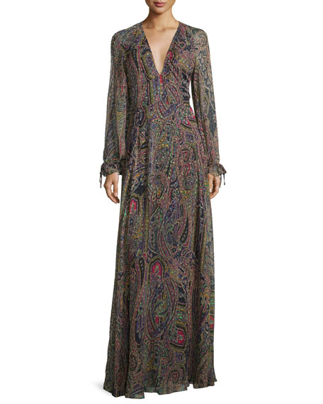 Paisley/Dot Printed Chiffon Gown, Black Multi