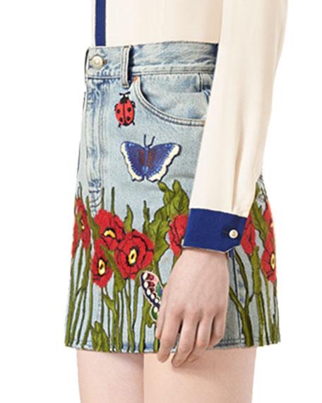 Embroidered Denim Skirt, Light Blue/Multi