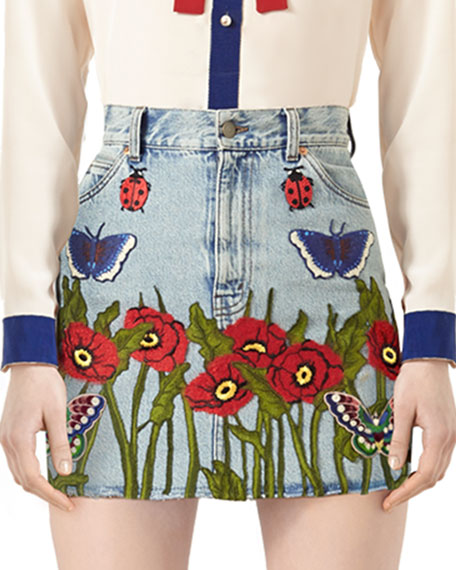 Embroidered Denim Skirt, Light Blue/Multi