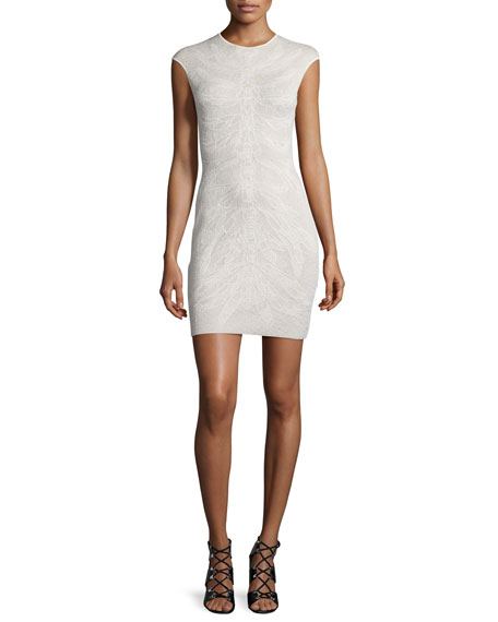 Cap-Sleeve Spine Lace Mini Dress, Ivory