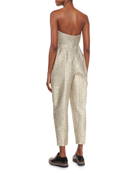 Strapless Metallic Jacquard Jumpsuit, Gold