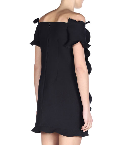 Off-the-Shoulder Ruffled Wave-Trim Dress, Black