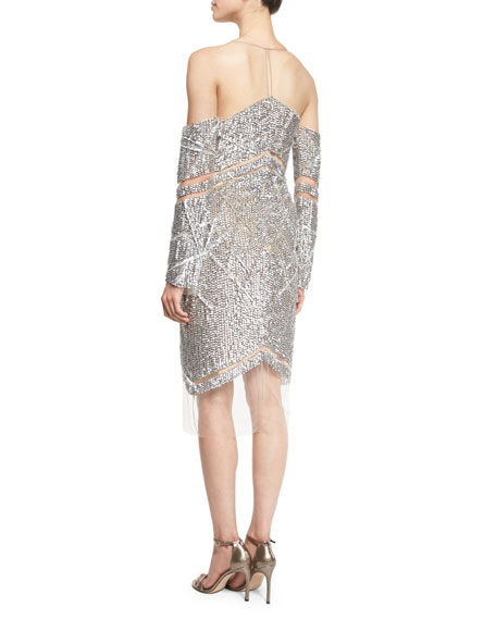 Raised Crystal Long-Sleeve Cocktail Dress, Silver