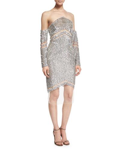 Raised Crystal Long-Sleeve Cocktail Dress, Silver