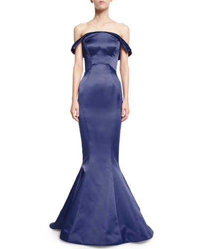 Folded Off-the-Shoulder Satin Trumpet Gown, Amethyst