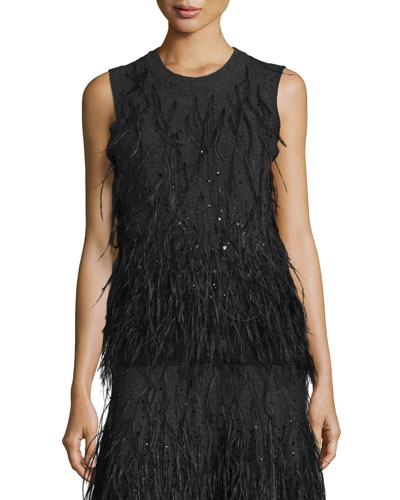 Feather-Embellished Cashmere Shell, Charcoal Melange