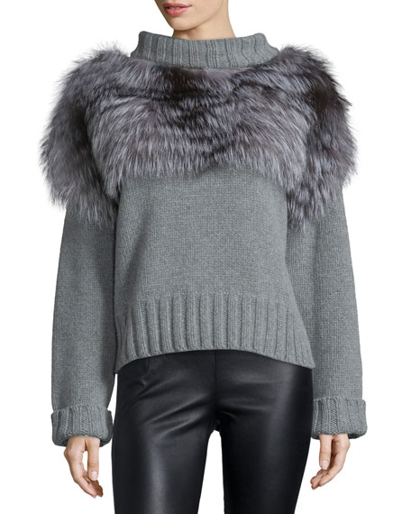 Fox Fur-Trimmed Turtleneck Sweater, Gray