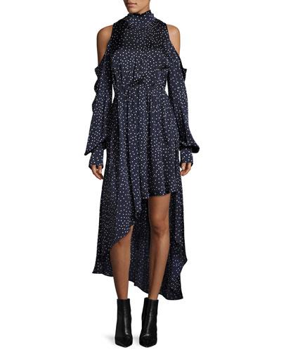 Rennes Cold-Shoulder Open-Back High-Low Silk Dress  Navy/White Dot