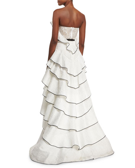 Strapless Tiered Matelasse Gown, White