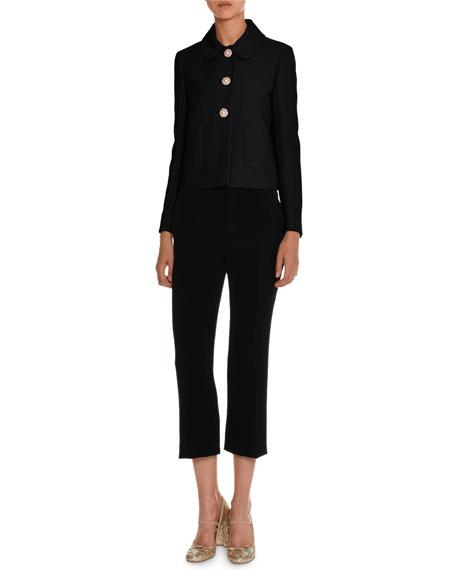 Cropped Cady Flare-Leg Pants, Black