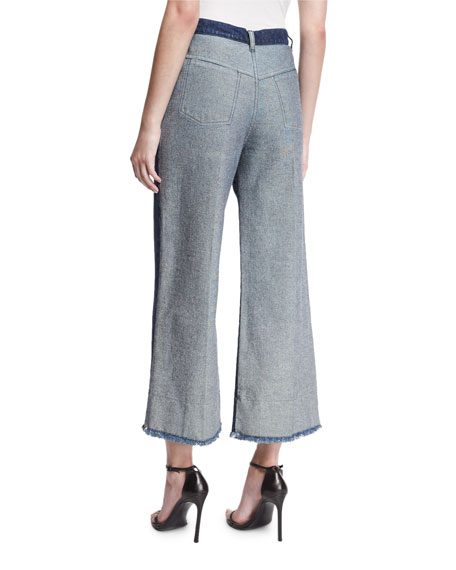 Two-Tone Sparkle Denim Gauchos, Navy