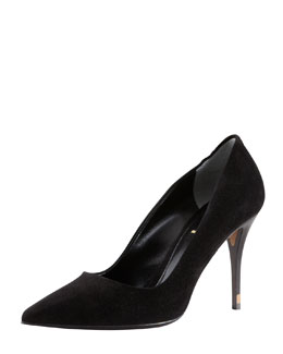 Fendi Pointed-Toe Wood-Heel Suede Pump