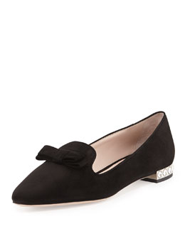 Miu Miu Suede Crystal-Heel Bow Loafer, Nero