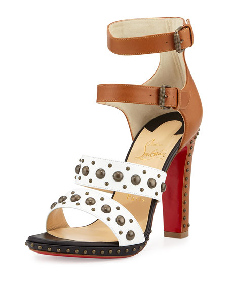 christian louboutin fake shoes - Christian Louboutin DecoDame Studded Red Sole Sandal, White/Cuoio