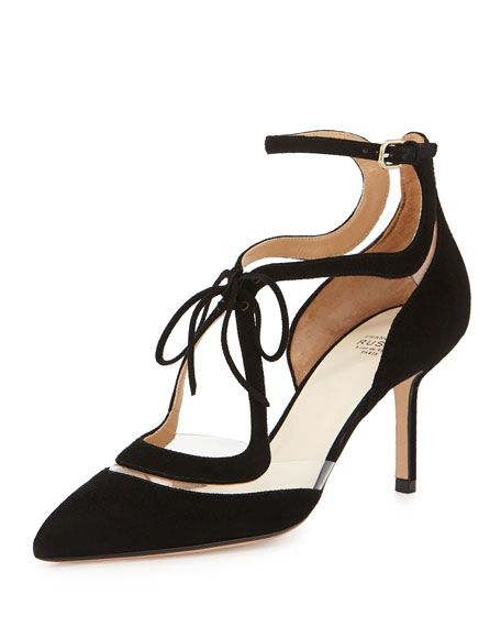 Suede Floating Lines Pump, Nero