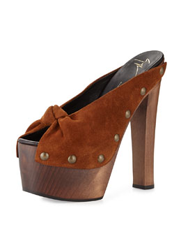 Suede-Knot Wooden Clog, Cigaro
