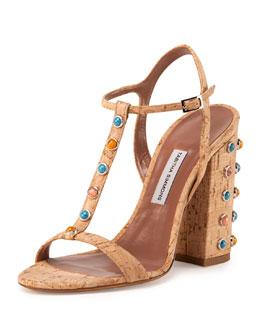 Cabochon Cork T-Strap Sandal, Natural