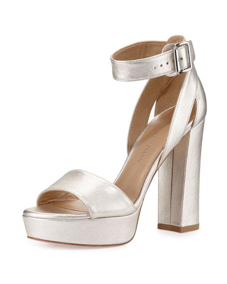 Mostly Platform Leather Sandal, Pearl