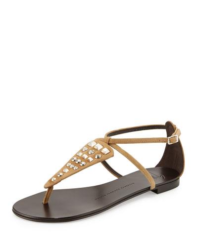 Studded Suede Thong Sandal, Falasco/Campinoe