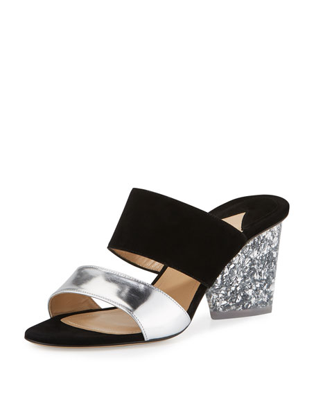 Theodora Two-Band Sandal, Silver
