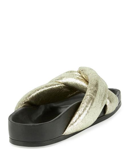 Leather Crisscross Slide Sandal, Gray Glitter