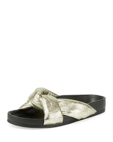 Leather Crisscross Slide Sandals, Gray Glitter