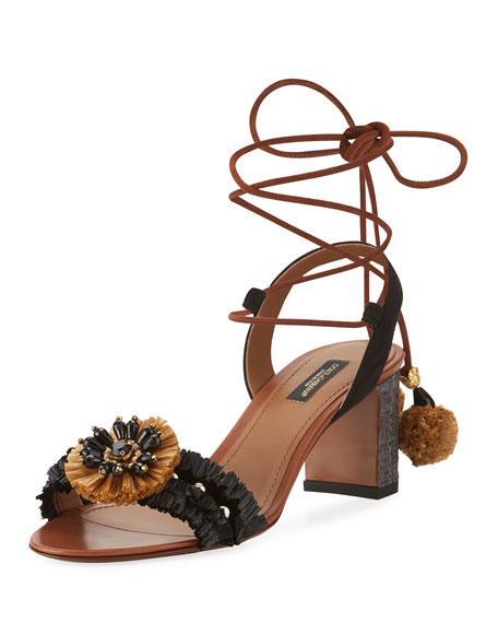 Leather & Raffia Ankle-Wrap Sandal, Black/Natural