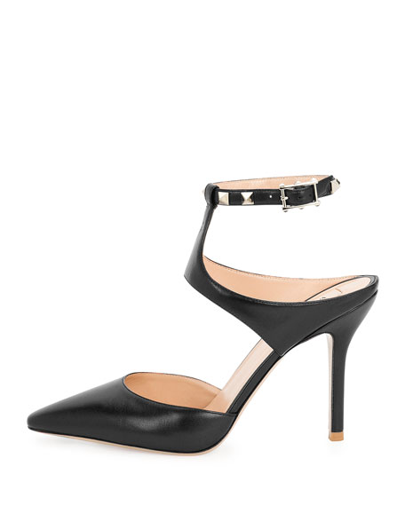 Rockstud Leather Ankle-Strap Pump