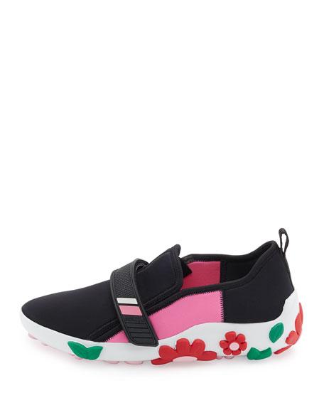 Neoprene Flower-Heel Sneaker, Black/Pink