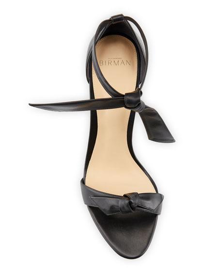 Clarita Leather Ankle-Tie 100mm Sandals, Black