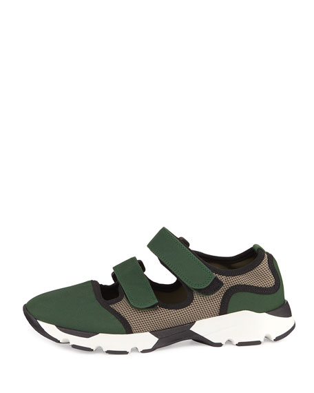 Marni Woven Double-Strap Mary Jane Sneaker, Bayberry Green
