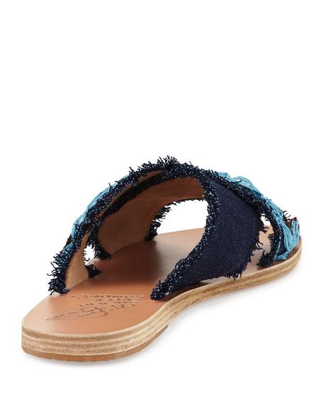 Thais Raffia Denim Flat Slide Sandal