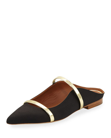 Maureen Satin Mule Slide, Black