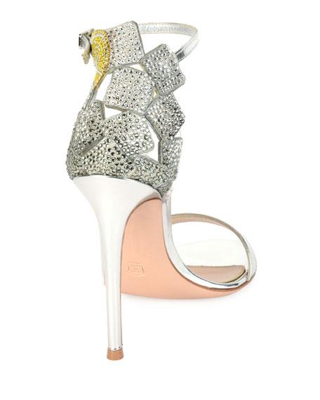 Crystal-Embellished Sandal, Silver