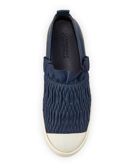 Antoinetta Smocked Leather Skate Sneaker, Bright Blue