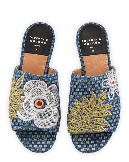 Nice Embroidered Denim Slide Sandals